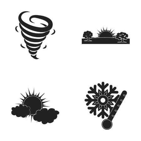 竜巻、日の出、曇り、雪、霜。天気は、ブラック スタイル ベクトル シンボル ストック イラスト web のコレクションのアイコンを設定します。