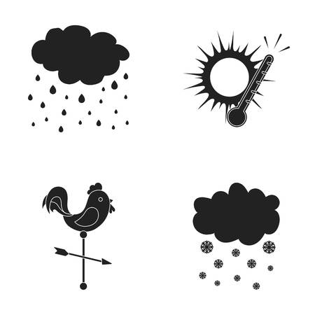 Rain, snow, heat, weathervane. The weather set collection icons in black style vector symbol stock illustration web. Illustration