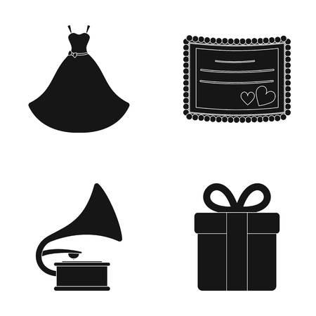 logo music: Wedding dress, invitation, gift, gramophone. Wedding set collection icons in black style vector symbol stock illustration web.