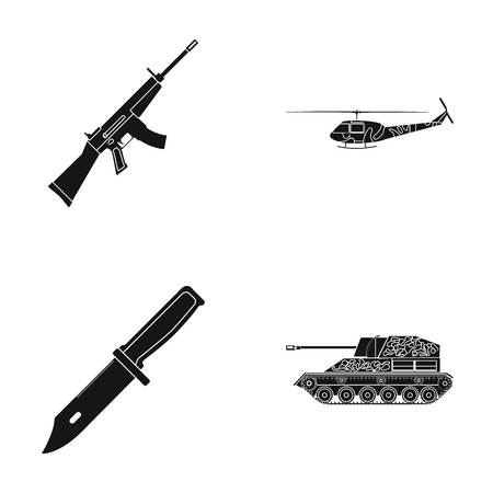Assault rifle M16, helicopter, tank, combat knife. Military and army set collection icons in black style vector symbol stock illustration web.