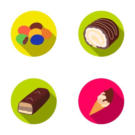 Dragee, roll, chocolate bar, ice cream. Chocolate desserts set collection icons in flat style vector symbol stock illustration web.