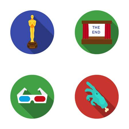 Award Oscar, movie screen, 3D glasses. Films and film set collection icons in flat style vector symbol stock illustration web. Illustration