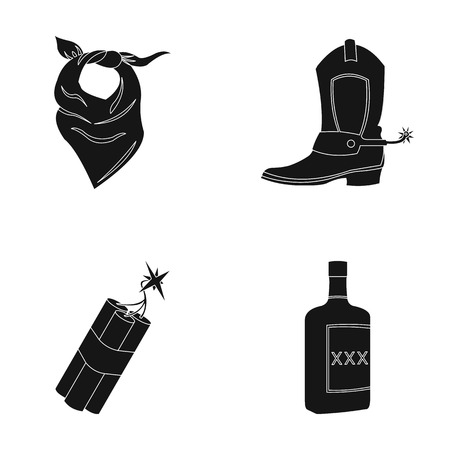 Bandage, boots, dynamite and a bottle of whiskey. Wild West set collection icons in black style vector symbol stock illustration web.