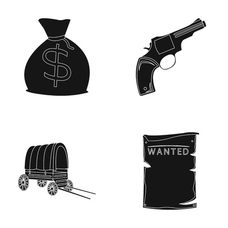 Se está buscando una bolsa con dinero, Colt, van. El oeste salvaje fijó iconos de la colección en web negro del ejemplo de la acción del símbolo del vector del estilo. Ilustración de vector