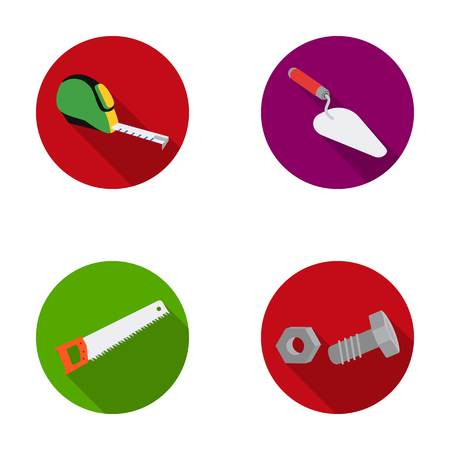 Measuring tape, bolt with nut, trowel, wood hacksaw. Build and repair set collection icons in monochrome style vector symbol stock illustration web. Illustration