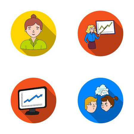 Businesswoman, growth charts, brainstorming.Business-conference and negotiations set collection icons in flat style vector symbol stock illustration web.