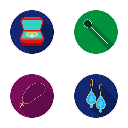 Ring in a case, hair clip, earrings with stones, a cross on a chain. Jewelery and accessories set collection icons in flat style vector symbol stock illustration web. Illustration