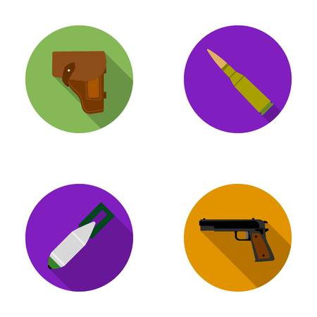holster: Holster, cartridge, air bomb, pistol. Military and army set collection icons in flat style vector symbol stock illustration web.