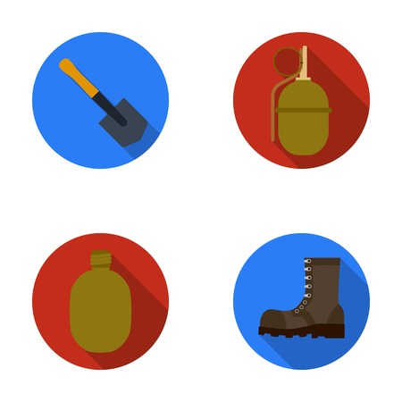 Sapper blade, hand grenade, army flask, soldiers boot. Military and army set collection icons in flat style vector symbol stock illustration web.