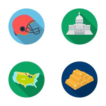 サッカー選手のヘルメット、議会議事堂、区域の地図、金と為替。アメリカ国は、フラット スタイル ベクトル シンボル ストック イラスト web のコ