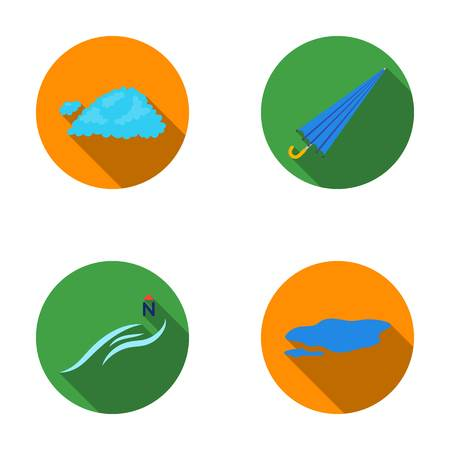 Cloud, umbrella, the north wind, a puddle on the ground. The weather set collection icons in flat style vector symbol stock illustration web.