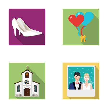 Elegant wedding shoes with heels, balloons for the ceremony, a church with a stained-glass window and a bell, a picture of the bride and groom. Wedding set collection icons in flat style vector symbol stock illustration web. Illustration