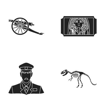wheel guard: Gun on wheels, dinosaur skeleton, security guard in uniform, admission ticket. Museum set collection icons in black style vector symbol stock illustration web.