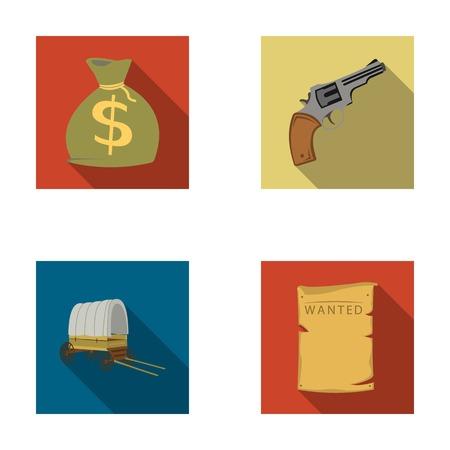 Se está buscando una bolsa con dinero, Colt, van. El oeste salvaje fijó iconos de la colección en web plano del ejemplo de la acción del símbolo del vector del estilo.