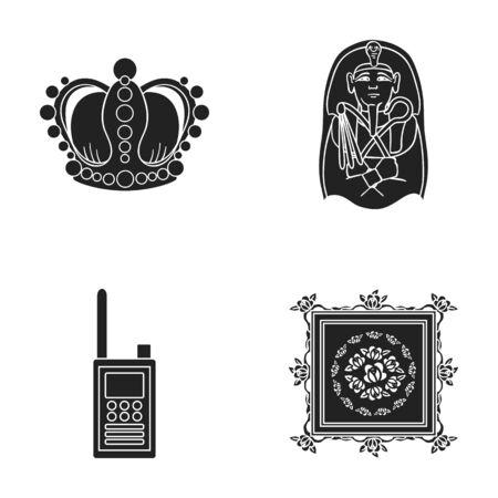 Krone, Sarkophag des Pharaos, Walkie-Talkie, Bild im Rahmen Museums-Sammlungsikonen im schwarzen Artvektorsymbolvorrat-Illustrationsnetz. Standard-Bild - 79244427