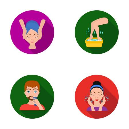 Face massage, foot bath, shaving, face washing. Skin Care set collection icons in flat style vector symbol stock illustration web.