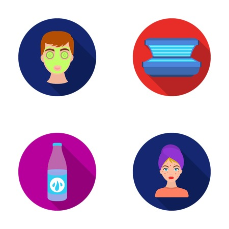 Face mask, solarium, bottle ts lasenom, pimples on face. Skin Care set collection icons in flat style vector symbol stock illustration web. Illustration