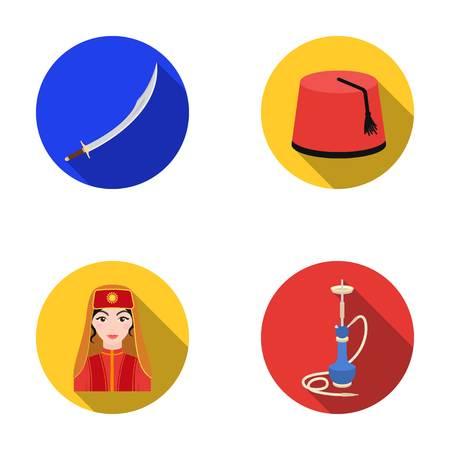 smoking woman: Turkish fez, yatogan, turkish, hookah.Turkey set collection icons in flat style vector symbol stock illustration web.