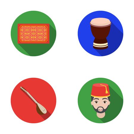 saz: Turkish carpet, saz, drum, turkish men.Turkey set collection icons in flat style vector symbol stock illustration web. Illustration