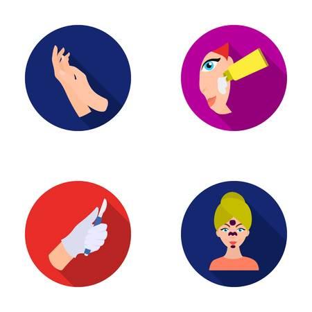 Hidratante para manos, máscara de cirujano de escalpelo en la cara, crema en la cara. La piel se establecen iconos de colección en web de ilustración de stock de símbolo de vector de estilo plano.