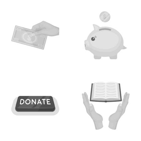 Hand with money for poshestvovaniya, a piggy bank, a button with an inscription. Charity and donation set collection icons in monochrome style vector symbol stock illustration web. Illustration