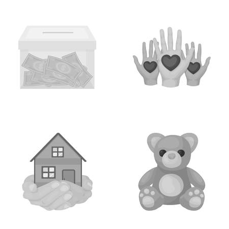 patronize: Boxing glass with donations, house in hands, teddy bear for charity. Charity and donation set collection icons in monochrome style vector symbol stock illustration web. Illustration
