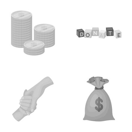 patronize: A pile of coins for donations, colored cubes with an inscription, a bag of money for donations. Charity and donation set collection icons in monochrome style vector symbol stock illustration web.
