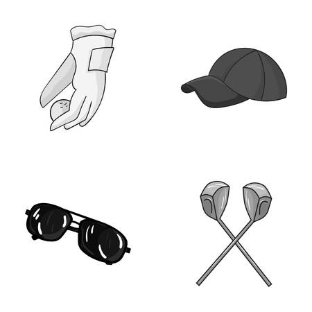 A glove for playing golf with a ball, a red cap, sunglasses, two clubs. Golf Club set collection icons in monochrome style vector symbol stock illustration web.