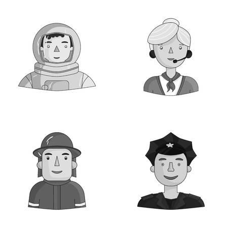 Un astronauta en un traje espacial, un bombero, un policía con una insignia. La gente de profesiones diferentes fijó iconos de la colección en web monocromática del ejemplo de la acción del símbolo del vector del estilo.