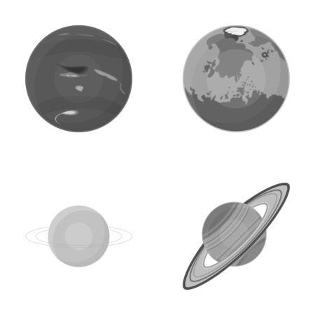 unexplored: Neptune, Mars, Saturn, Uranus of the Solar System. Planets set collection icons in monochrome style vector symbol stock illustration web. Illustration