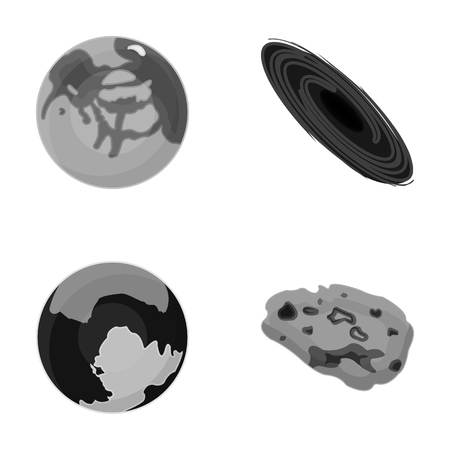 unexplored: Mercury, Pluto of the Planet of the Solar System. A black hole and a meteorite. Planets set collection icons in monochrome style vector symbol stock illustration web. Illustration