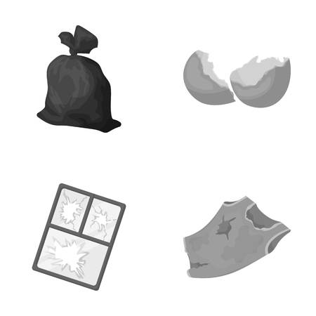 A garbage bag, a broken egg shell, a torn dirty T-shirt, a broken window frame with glass.Garbage and trash set collection icons in monochrome style vector symbol stock illustration web. Illustration