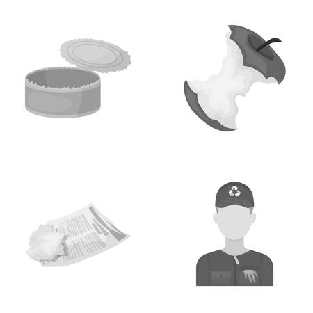 Can used used pot, apple stub, old dirty and wrinkled newspaper, the man who takes out the garbage.Garbage and trash set collection icons in monochrome style vector symbol stock illustration web.