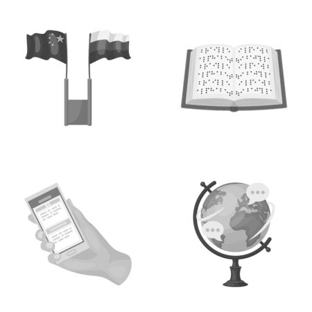 Two flags, a book for the blind, a hand with a phone with translated text, a globe of the Earth. Interpreter and translator set collection icons in monochrome style vector symbol stock illustration web.