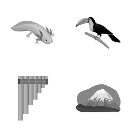 Sampono Mexican musical instrument, a bird with a long beak, Orizaba is the highest mountain in Mexico, axolotl is a rare animal. Mexico country set collection icons in monochrome style vector symbol stock illustration web.