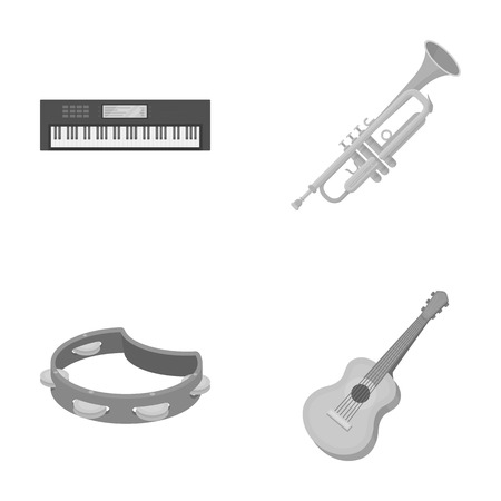 Electro organ, trumpet, tambourine, string guitar. Musical instruments set collection icons in monochrome style vector symbol stock illustration web.