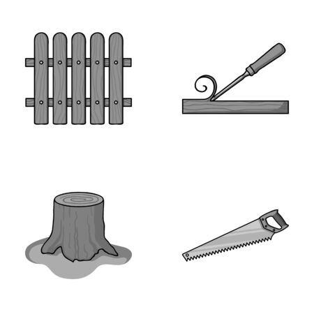 Fence, chisel, stump, hacksaw for wood. Lumber and timber set collection icons in monochrome style vector symbol stock illustration web. Illustration