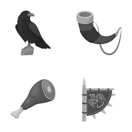 Sitting crow, horn with drink, ham, victory flag. Vikings set collection icons in monochrome style vector symbol stock illustration web. Illustration