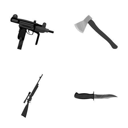 self  defense: Ax, automatic, sniper rifle, combat knife. Weapons set collection icons in monochrome style vector symbol stock illustration web.