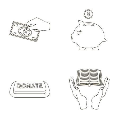 patronize: Hand with money for poshestvovaniya, a piggy bank for charity, a button with an inscription, a book for the blind in their hands. Charity and donation set collection icons in outline style vector symbol stock illustration web.
