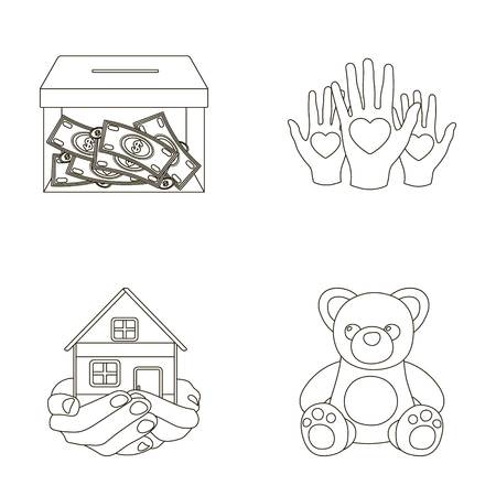 Boxing glass with donations, hands with hearts, house in hands, teddy bear for charity. Charity and donation set collection icons in outline style vector symbol stock illustration web.