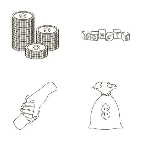 patronize: A pile of coins for donations, colored cubes with an inscription, a handshake, a bag of money for donations. Charity and donation set collection icons in outline style vector symbol stock illustration web.