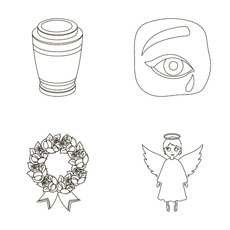 urn: The urn with the ashes of the deceased, the tears of sorrow for the deceased at the funeral, the mourning wreath, the angel of death. Funeral ceremony set collection icons in outline style vector symbol stock illustration web.