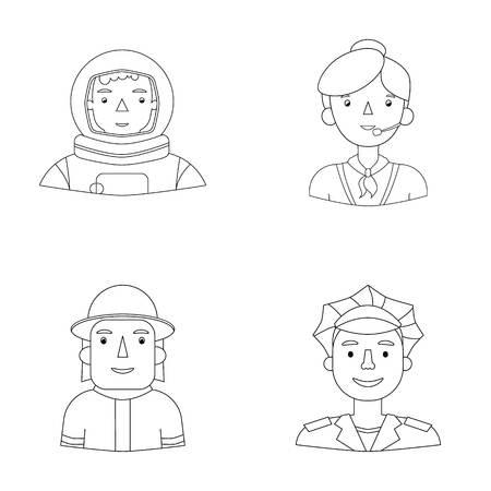 Un astronauta en un traje espacial, un compañero de trabajo con un micrófono, un bombero en un casco, un policía con una insignia en su gorra. La gente de diversas profesiones fijó iconos de la colección en web del esquema del ejemplo del vector del símbolo del vector del estilo.