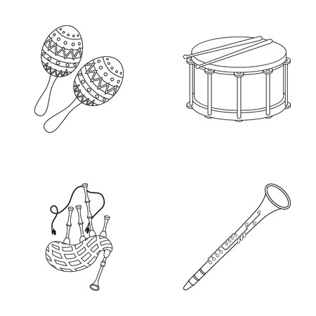 clarinete: Maracas, drum, Scottish bagpipes, clarinet. Musical instruments set collection icons in outline style vector symbol stock illustration web. Vectores