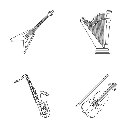 Electric guitar, loudspeaker,harp, saxophone, violin.Music instruments set collection icons in outline style vector symbol stock illustration web.