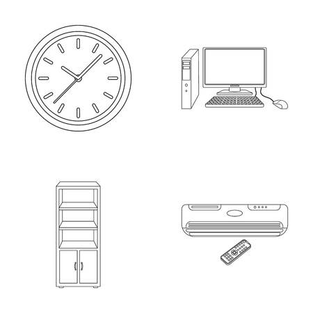 Clock with arrows, a computer with accessories for work in the office, a cabinet for storing business papers, air conditioning with remote control.