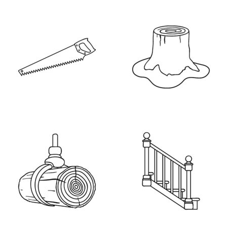 handrail: A hacksaw, a stump, a staircase with handrails, a beam. A sawmill and timber set collection icons in outline style vector symbol stock illustration web.