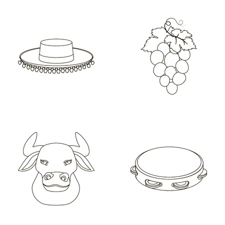 The hat of the toreador, the matador, a bunch of grapes with fists, a bull for the Spanish bullfight, a tambourine. Illustration