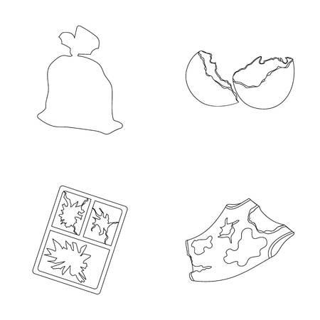 bag of soil: A garbage bag, a broken egg shell, a torn dirty T-shirt, a broken window frame with glass.